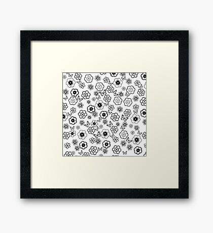 Cute black white butterfly abstract flowers Framed Print