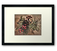 Pinecone & Berries Framed Print