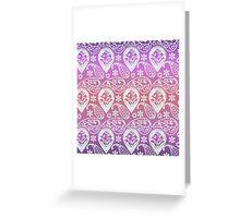 Vintage pink coral gradient floral paisley pattern Greeting Card