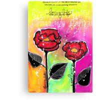 Mixed Media Roses Canvas Print