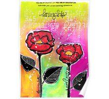 Mixed Media Roses Poster