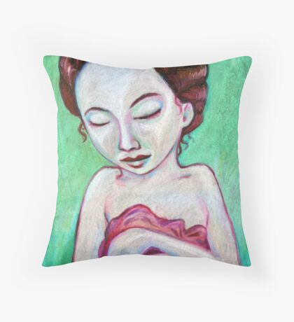 Girl With Blanket Throw Pillow