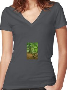 Woodland Scene, UK Women's Fitted V-Neck T-Shirt