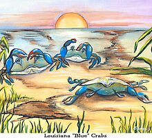 Louisiana Blue Crabs by Elaine Hodges