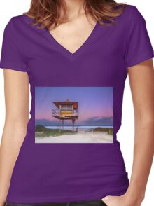 Sandy Sundown - Gold Coast Qld Australia Women's Fitted V-Neck T-Shirt
