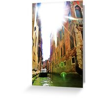 gondola ride and sun flare Greeting Card