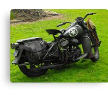 Army Motorcycle Canvas Print