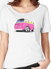 VW Bay Window Camper Van A Pink Women's Relaxed Fit T-Shirt