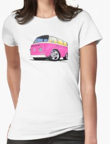 VW Bay Window Camper Van A Pink Womens Fitted T-Shirt