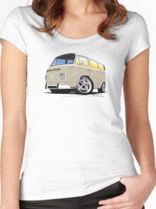 VW Bay Window Camper Van B Cream Women's Fitted Scoop T-Shirt