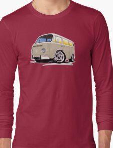 VW Bay Window Camper Van B Cream Long Sleeve T-Shirt