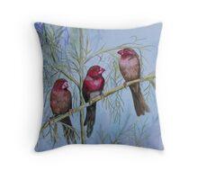 crimson finches Throw Pillow
