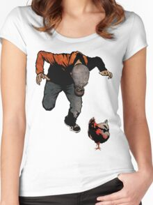 THE RETURN OF LEROY VS THE EVIL ZOMBIE CHICKEN! Women's Fitted Scoop T-Shirt