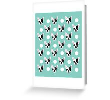French Bulldog pattern polka dogs dog head funny dog meme cute gift for a dog lover frenchie owner Greeting Card