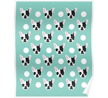 French Bulldog pattern polka dogs dog head funny dog meme cute gift for a dog lover frenchie owner Poster