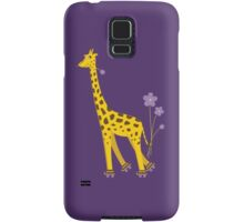 Purple Cartoon Funny Giraffe Roller Skating Samsung Galaxy Case/Skin