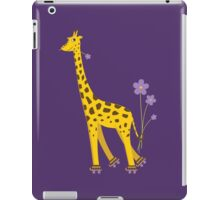 Purple Cartoon Funny Giraffe Roller Skating iPad Case/Skin