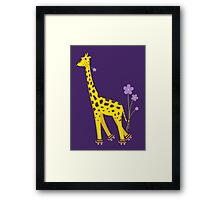 Purple Cartoon Funny Giraffe Roller Skating Framed Print