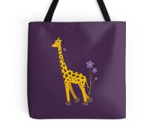 Purple Cartoon Funny Giraffe Roller Skating Tote Bag