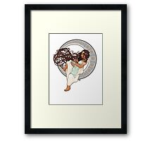 Steampunk Mucha Girl (with mouse) Framed Print