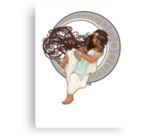 Steampunk Mucha Girl (with mouse) Canvas Print
