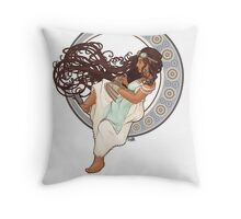 Steampunk Mucha Girl (with mouse) Throw Pillow