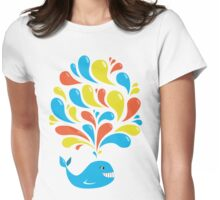 Colorful Happy Cartoon Whale Womens Fitted T-Shirt