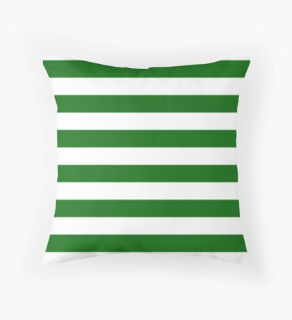 Green and White Hoops Banded Design Throw Pillow
