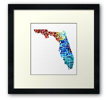 Florida - Map By Counties Sharon Cummings Art Framed Print