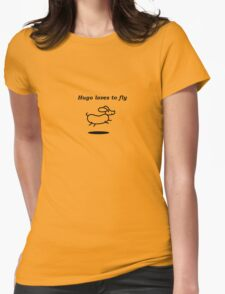 Hugo loves to fly Womens Fitted T-Shirt