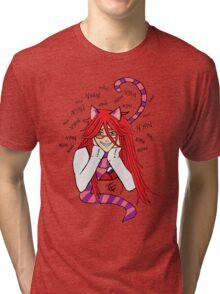 Grell Cheshire Cat - Black Butler Fan Art Tri-blend T-Shirt