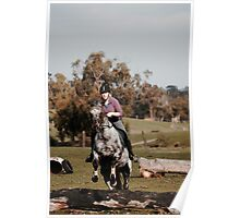 Rider jumping with horse Poster