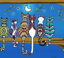 Pop Art Zentangle Cats Lovers Moon Color by Marcia  Connell-Smith
