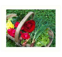 Basket of Roses and Veggies Art Print