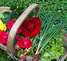 Basket of Roses and Veggies by sandycarol