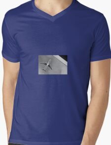 Black + white plane abstract Mens V-Neck T-Shirt