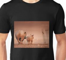 Black Rhino cow and calf Unisex T-Shirt