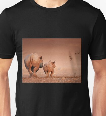 Black Rhino cow and calf Unisex T-Shirt
