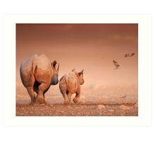 Black Rhino cow and calf Art Print