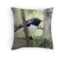 Black Throated Blue Warbler II Throw Pillow