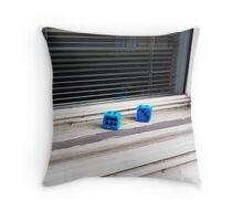 Blue Dice Throw Pillow
