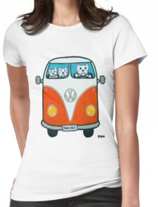 Westies in a VW Womens Fitted T-Shirt