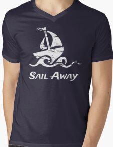 Sail Away: White Sailboat Mens V-Neck T-Shirt
