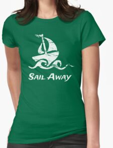 Sail Away: White Sailboat Womens Fitted T-Shirt