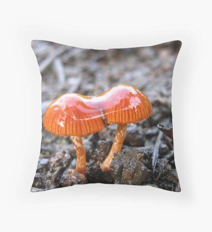 Little Fungi In The Rain Throw Pillow