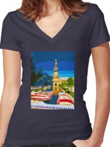 Plaza Row Women's Fitted V-Neck T-Shirt
