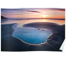 Sunset on the beach at Westward Ho! Poster