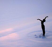 Snowy Sunset - Roffey Park Statue by Adrian S. Lock