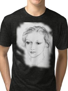 Drawing of a lovely girl Tri-blend T-Shirt