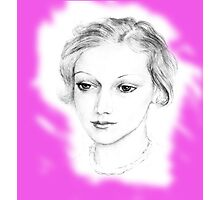 Drawing of a lovely girl Photographic Print